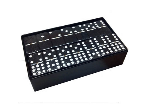 DOUBLE 9 Black Dominoes Set - With Spinners - Arcadian Black Box