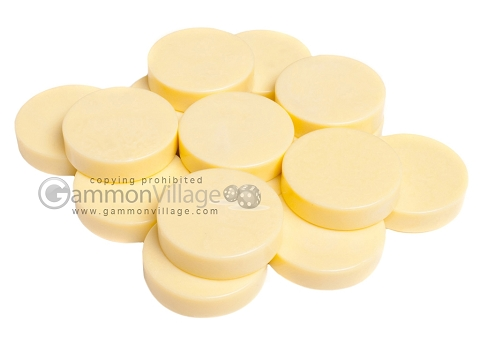 Backgammon Checkers - Mother Of Pearl - Plastic - Ivory - Roll of 15