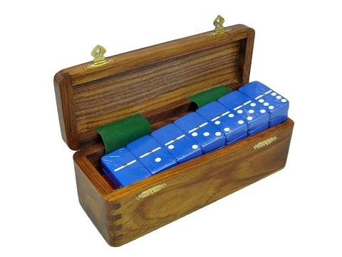 DOUBLE 6 Blue Dominoes Set - With Spinners - Wood Box