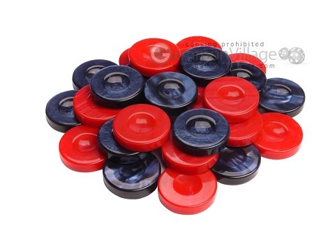 Backgammon Checkers - High Gloss Acrylic - Blue & Red (1 1/2in. Dia.) - Set of 30