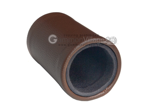 Brown Leatherette Backgammon Dice Cup - Black Interior with Trip Lip