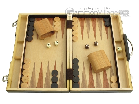 15-inch Wood Backgammon Set - Zebra Wood