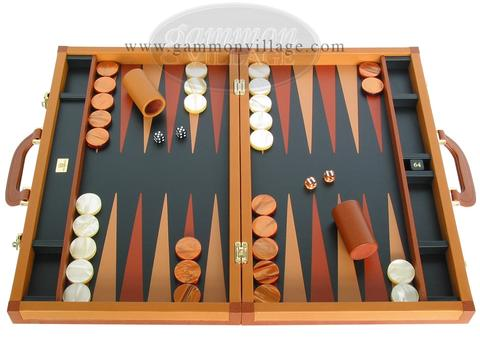 Zaza & Sacci® Leather Backgammon Set - Model ZS-888 - Large - Brown