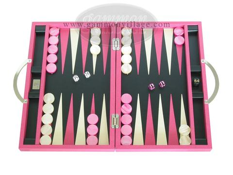 Zaza & Sacci® Leather Backgammon Set - Model ZS-200 - Travel - Pink