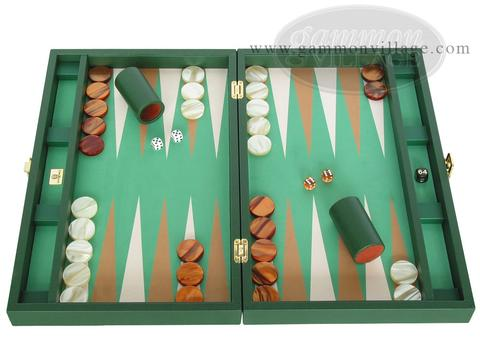 Zaza & Sacci® Leather/Microfiber Backgammon Set - Model ZS-425 - Green