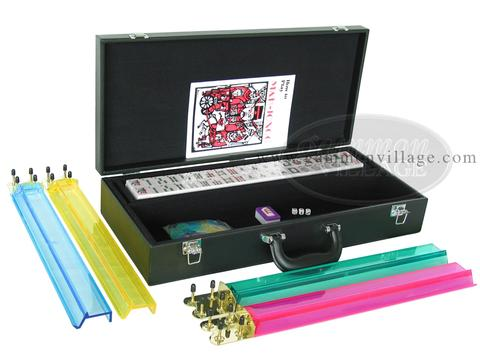 American Mah Jong Set - White Tiles - Leatherette Case - Black - Pushers Not Included