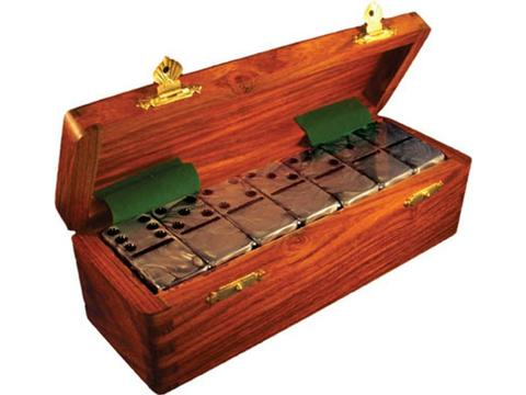 DOUBLE 6 Silver Dominoes Set - Wood Box