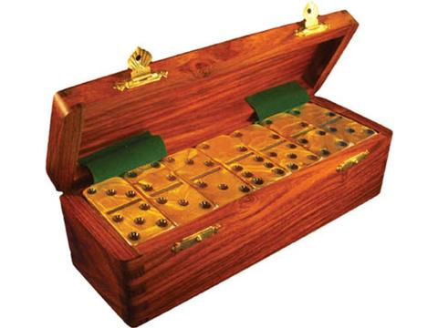 DOUBLE 6 Gold Dominoes Set - Wood Box