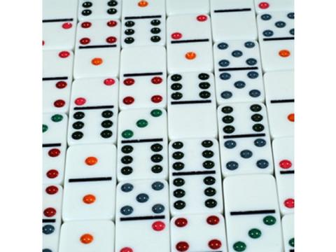 DOUBLE 6 Colored Dot Dominoes in Case