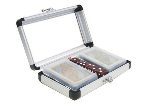 2 Decks of Transparent Cards with 5 Dice in Acrylic Lid Aluminum Case