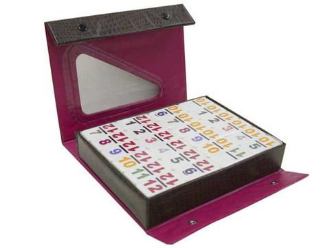 DOUBLE 12 Dominoes Set with Colored Numerals in Vinyl Case