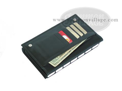 Double 6 Professional Dominoes in Wallet Style Leather Case