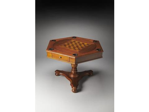 Alexander Olive Ash Burl Hexagonal Game Table