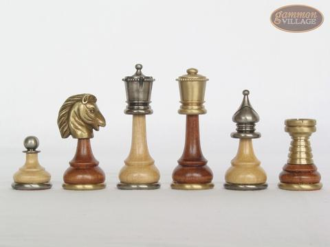 Champion Brass Staunton Chessmen with Italian Lacquered Chess Board [Wood]