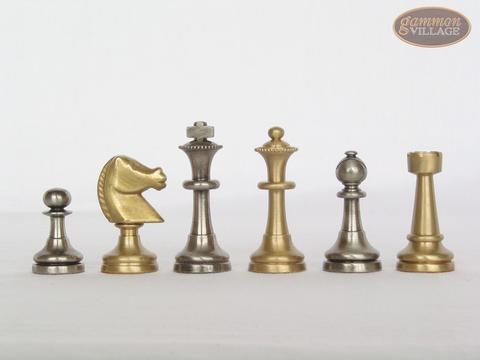 Professional Brass Tournament Chessmen with Italian Brass Chess Board [Raised]