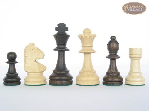 Executive Staunton Chessmen with Patterned Italian Leatherette Chess Board