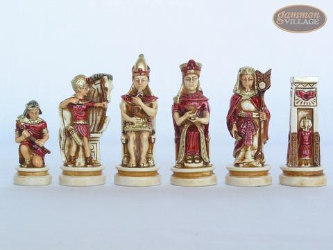 Egyptian Chessmen with Italian Lacquered Chess Board [Red]