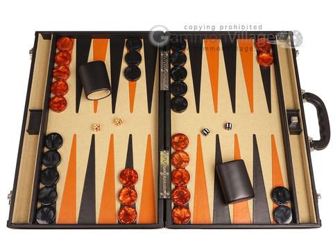 Aries™ Professional Leather Backgammon Set - Black/Beige - Elite Series