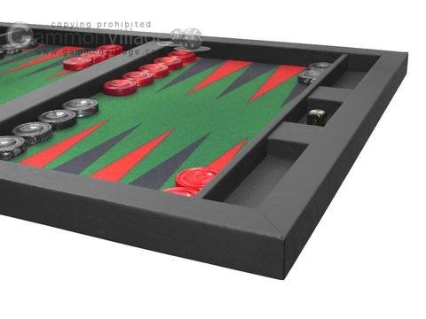 Hector Saxe Leatherette Tabletop Backgammon Set - Black with Green Field