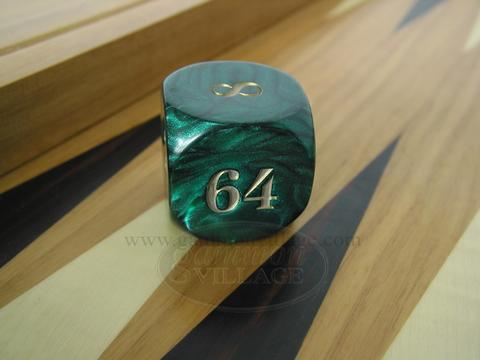Backgammon Doubling Cube - Green Marbleized