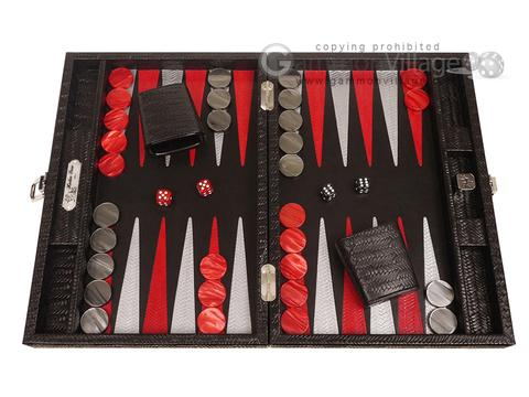 Hector Saxe Braided Leather Travel Backgammon Set - Black
