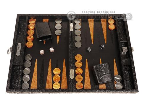 Hector Saxe Arizona Leather Travel Backgammon Set - Black