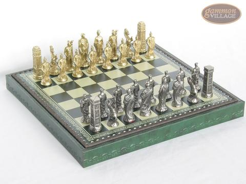 Brass Roman Chessmen with Patterned Italian Leatherette Chess Board with Storage [Green]