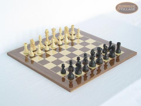 Executive Staunton Chessmen with Spanish Lacquered Chess Board [Wood]