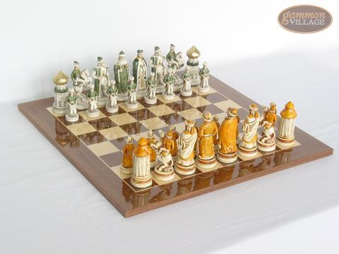 The Battle of Kazan Chessmen with Spanish Lacquered Board [Wood]