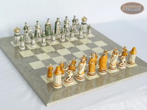 The Battle of Kazan Chessmen with Large Spanish Lacquered Chess Board [Grey]