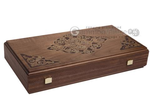 Walnut Backgammon Set with Inlaid Bronze and Natural Mother of Pearl - Athena