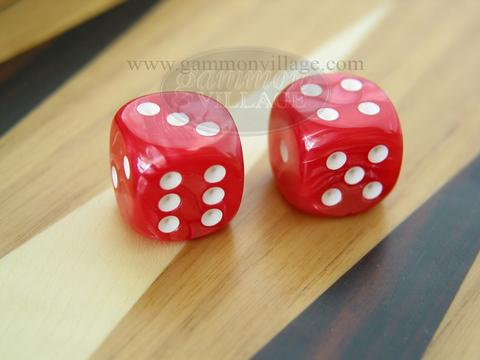 Rounded High Gloss Flecked Dice - Red (1 pair)