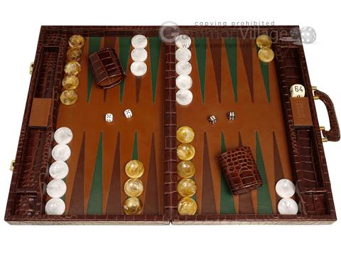 Marcello de Modena™ Leather Backgammon Set - Model MM-107 - Large - Croco Brown
