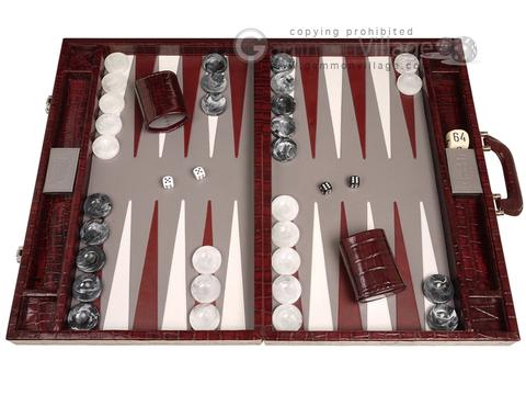 Marcello de Modena™ Leather Backgammon Set - Model MM-128 - Large - Croco Burgundy