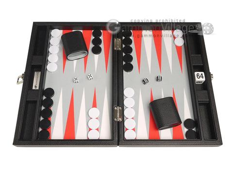 13-inch Premium Backgammon Set - Black with White and Scarlet Red Points
