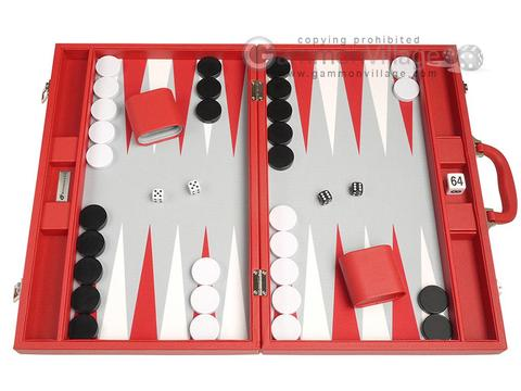19-inch Premium Backgammon Set - Red