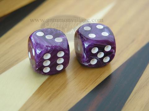 Rounded High Gloss Swoosh Dice - Purple (1 pair)