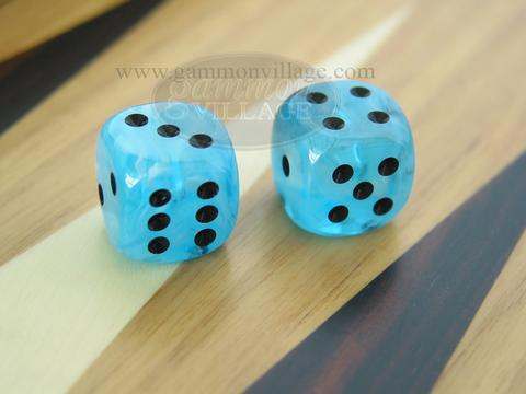 Rounded High Gloss Swoosh Dice - Arctic Blue (1 pair)