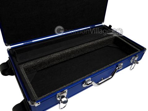 Large Empty Wheeled Rounded Aluminum Mah Jong Case (fits pushers) - Blue