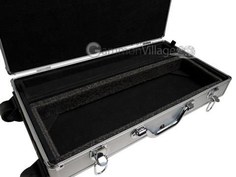 Large Empty Wheeled Rounded Aluminum Mah Jong Case (fits pushers) - Silver