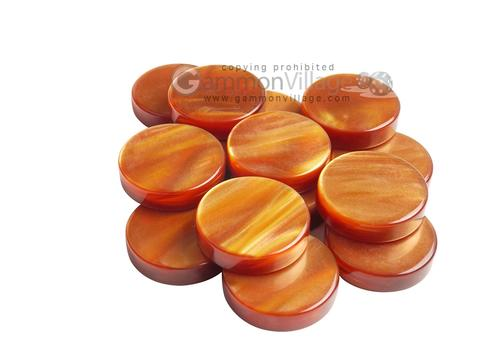 Backgammon Checkers - Pearled Acrylic - Amber (1 3/16 in. Dia.) - Roll of 15