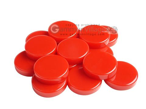 Backgammon Checkers - High Gloss Melamine - Red (1 3/16 in. Dia.) - Roll of 15