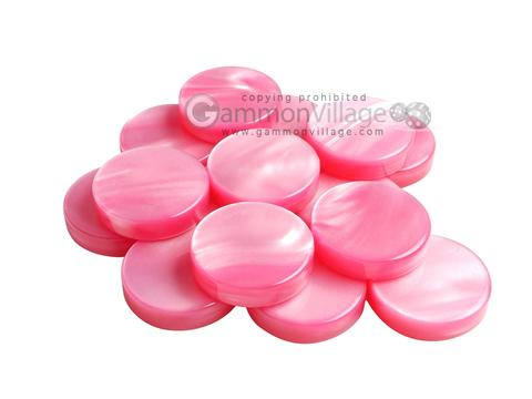 Backgammon Checkers - Pearled Acrylic - Pink (1 3/16 in. Dia.) - Roll of 15
