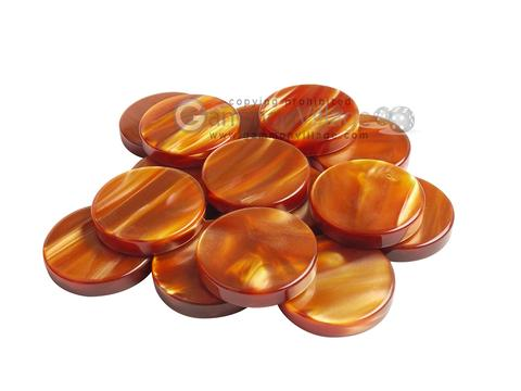 Backgammon Checkers - Pearled Acrylic - Amber (1 1/2 in. Dia.) - Roll of 15