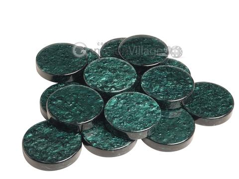 Backgammon Checkers - Grizzly Acrylic - Green (1 3/4 in. Dia.) - Roll of 15
