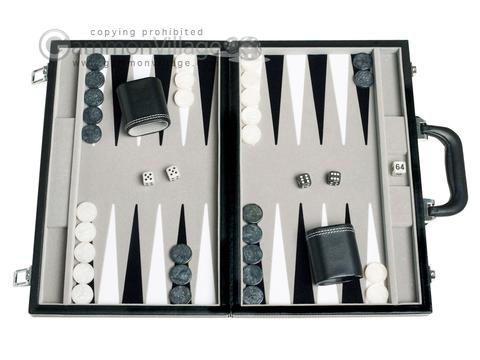 15-inch Leatherette Backgammon Set - Inlaid Velvet Field - Black/Grey