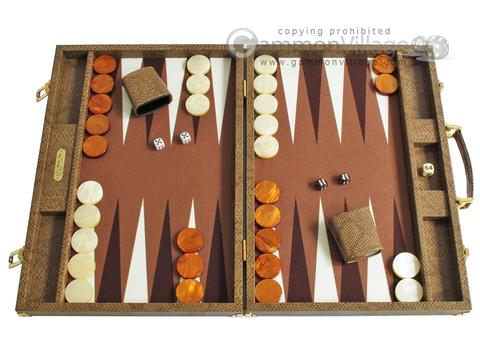 Hector Saxe Faux Snake Backgammon Set - Beige