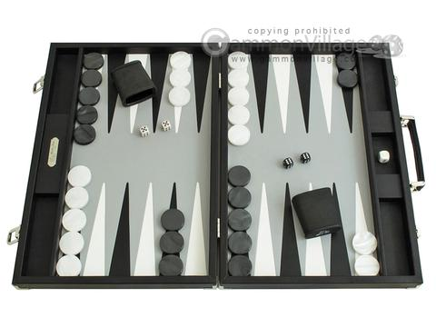 Hector Saxe Calfskin Leather Backgammon Set - Black