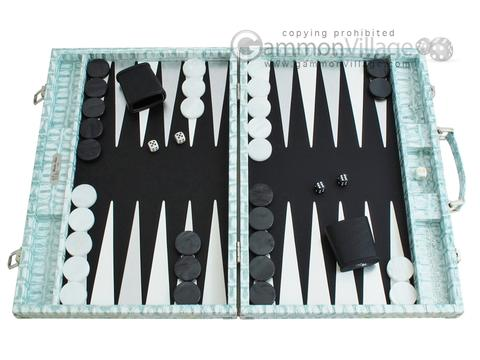 Hector Saxe Croco Leather Backgammon Set - Silver