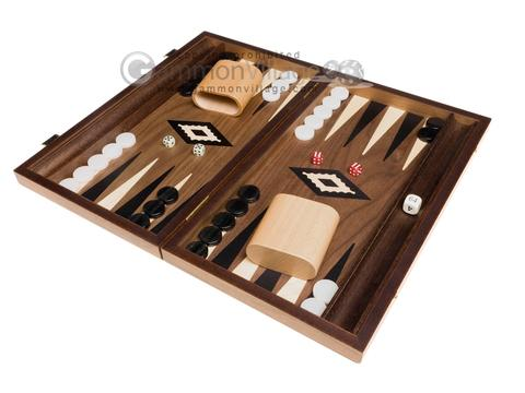 15-inch Walnut Backgammon Set - Black